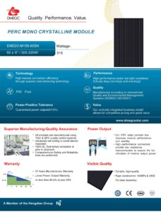 Voorblad datasheet vanDMEGC 315WP Full Black Zonnepaneel