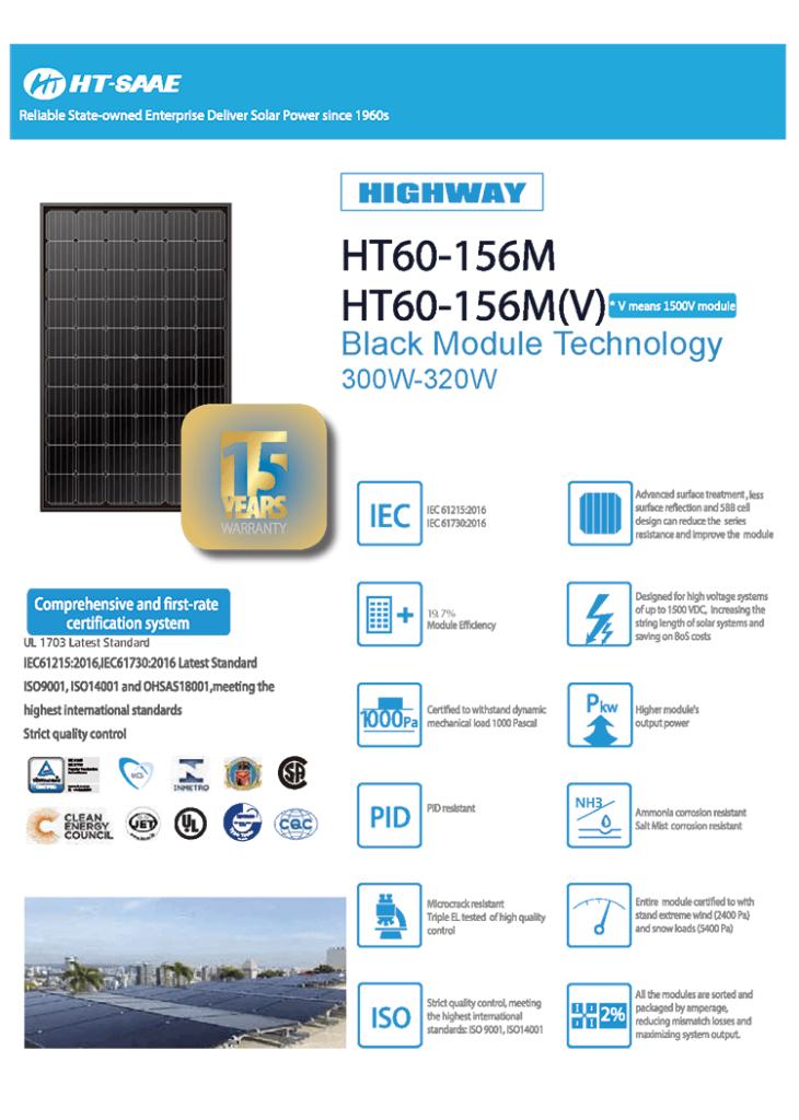 Zonnepaneel HT Solar mono 310WP FULL BLACK 15Y